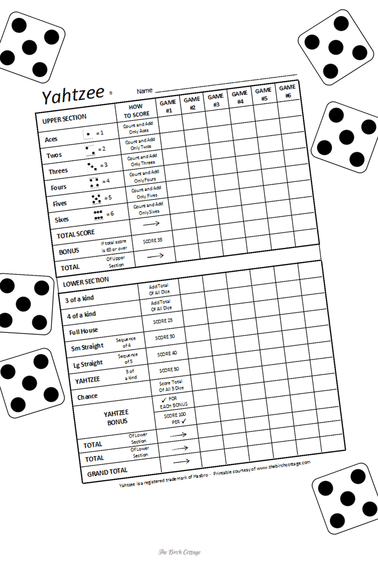 DIY Yard Dice With Free Printable Yahtzee Score Sheets The